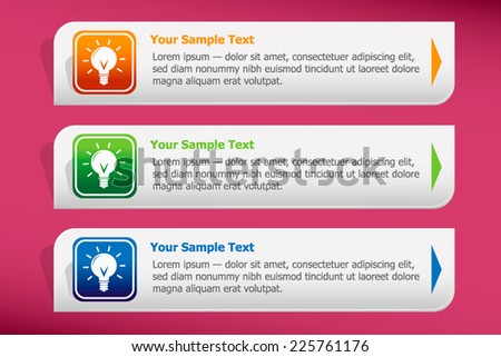 Light bulb and design template vector. Graphic or website. - stock vector