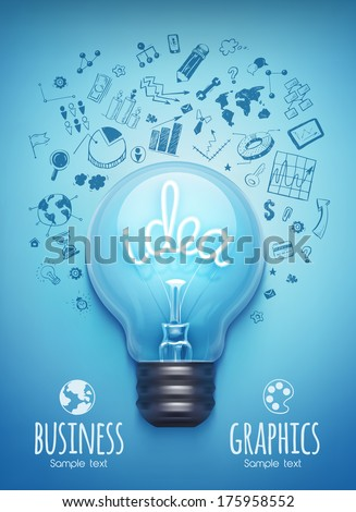 Light bulb and drawing business strategy. Vector - stock vector