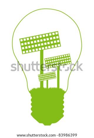 Light bulb and solar panel inside. Alternative energy concept vector background - stock vector