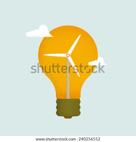 Light bulb and wind mill generator. Alternative energy concept vector. - stock vector