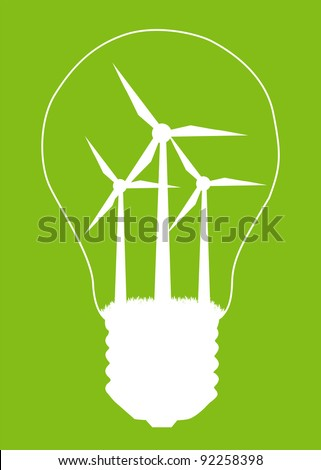 Light bulb and wind mill generator inside. Alternative energy concept vector background poster - stock vector