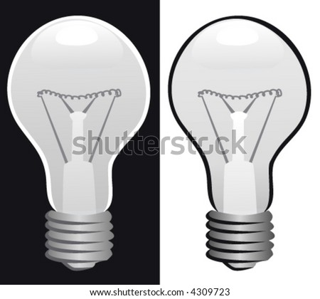 Light bulb, black and white.