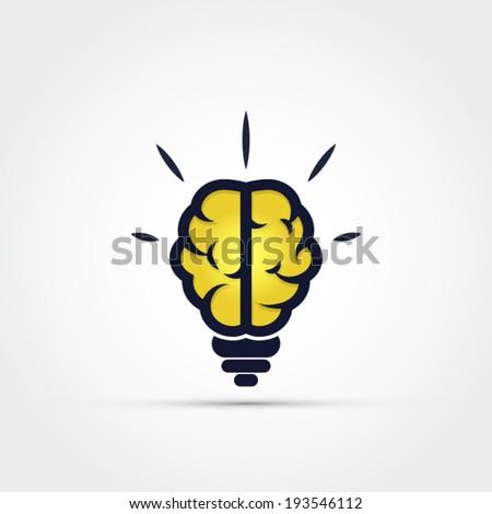 Light bulb brain icon - stock vector