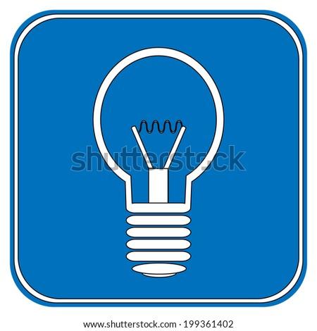 Light bulb button on white background. - stock vector