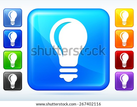 vector square blue icon lighting bulb. light bulb colorful square button vector blue icon lighting