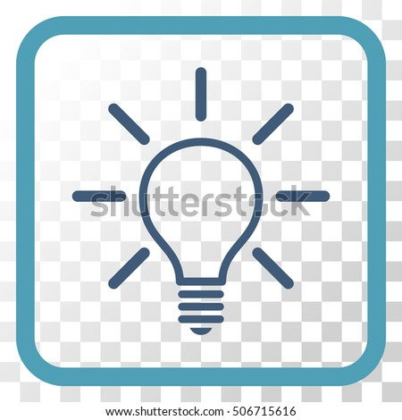 vector square blue icon lighting bulb. light bulb cyan and blue vector icon image style is a flat symbol inside square lighting g