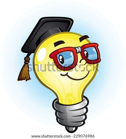 Light Bulb Education Cartoon Character - stock vector