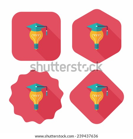 Light bulb flat icon with long shadow,eps10 - stock vector