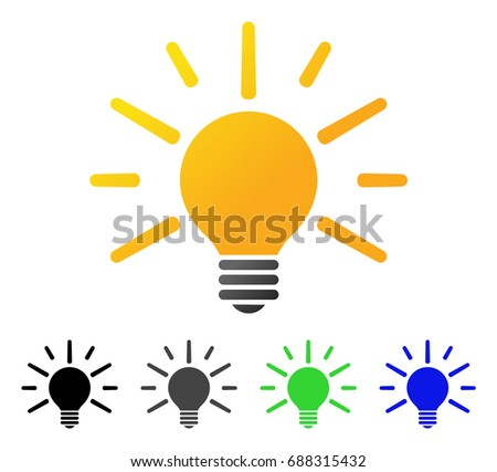 vector square blue icon lighting bulb. light bulb flat vector pictograph colored gradient gray black blue square icon lighting s