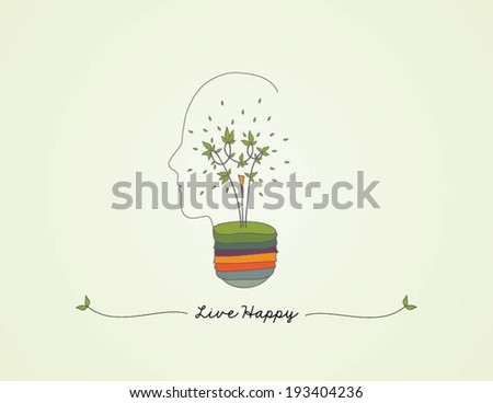 Light bulb head silhouette with green leaf, ecology concept - stock vector