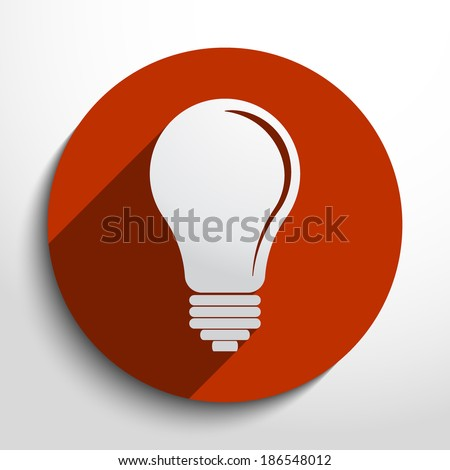 Light bulb icon in circle, flat design - stock vector