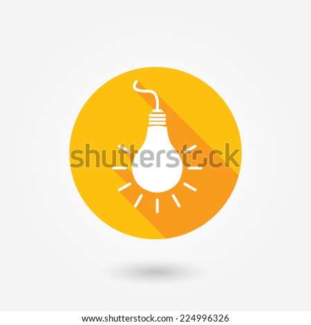Light bulb icon in circle. Flat design style with long shadow - stock vector
