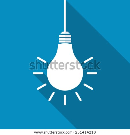 vector square blue icon lighting bulb. Light Bulb Icon. Modern Flat Icon With Long Shadow Effect Vector Square Blue Lighting N