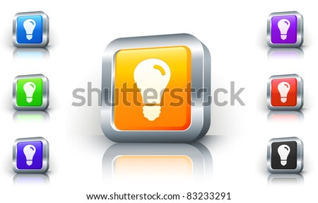 Light Bulb Icon on 3D Button with Metallic Rim Original Illustration - stock vector