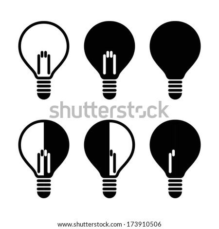 Light bulb icon set. Vector illustration - stock vector