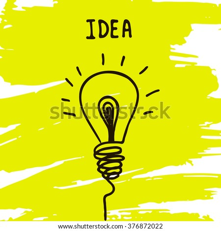 light bulb icon with concept of idea, hand draw sign - stock vector
