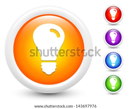 Light Bulb Icons on Round Button Collection Original Illustration - stock vector