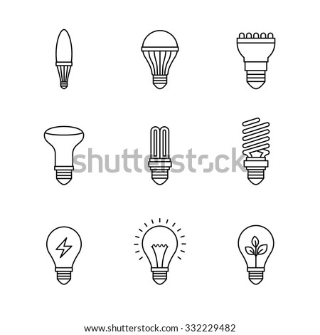 Set Of Hand Drawn Light Bulbs Symbol Of Ideas Stock: Lightbulb Stock Photos, Royalty-Free Images & Vectors
