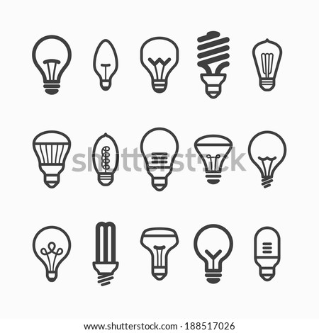 Light bulb icons. Vector. - stock vector