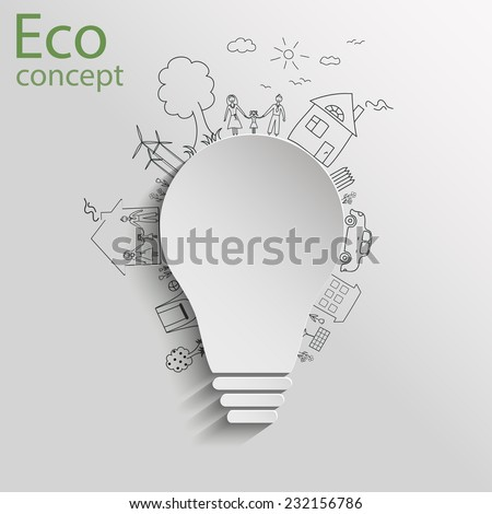 Light bulb idea, creative drawing ecological concepts, With happy family stories, idea, Vector illustration - stock vector
