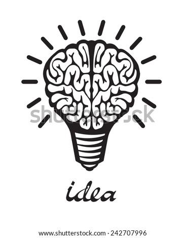 Light bulb idea human brain on white background  - stock vector