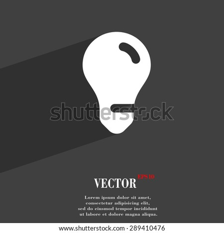 light bulb, idea icon symbol Flat modern web design with long shadow and space for your text. Vector illustration - stock vector