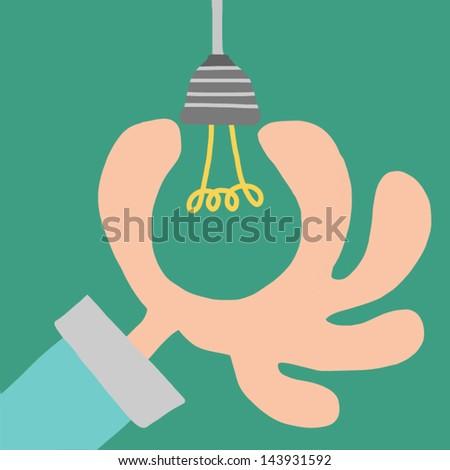 Light bulb idea in hand. vector illustration.Business concept. - stock vector