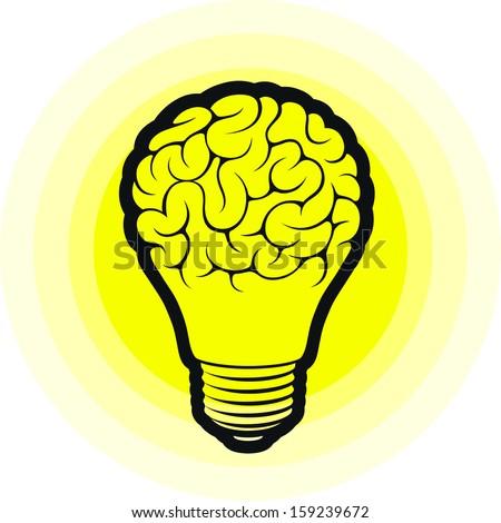 Light Bulb Idea With Brain Vector Illustration