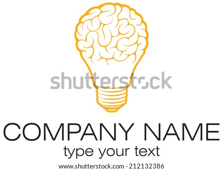 Light bulb idea with brain vector logo template. Corporate icon such as logotype. Creative light bulb idea brain vector. - stock vector