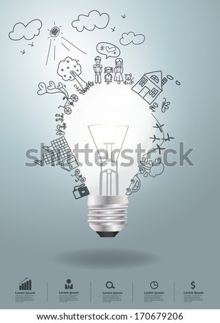 Light bulb idea with creative drawing environment ecology concept, With happy family stories concept idea, Vector illustration modern design template - stock vector