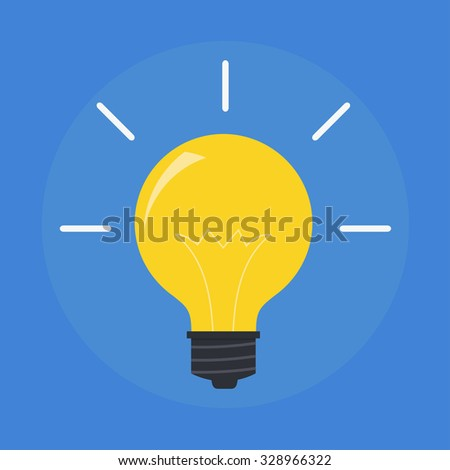 Light bulb in a flat style. Modern light bulb icon. Concept ideas, innovations, tips. Glowing yellow light. Simple light bulb idea.  - stock vector