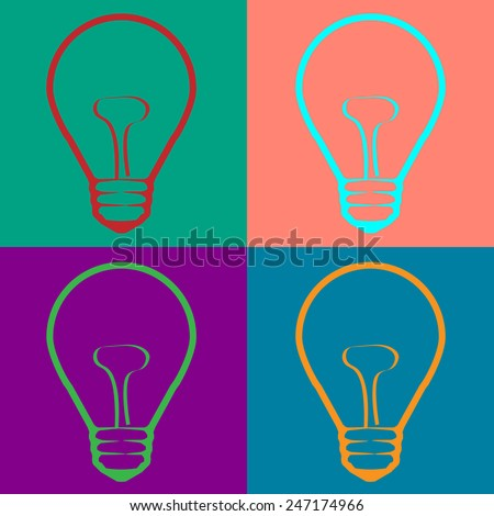 Light Bulb  in Warhol style. Vector EPS10   - stock vector
