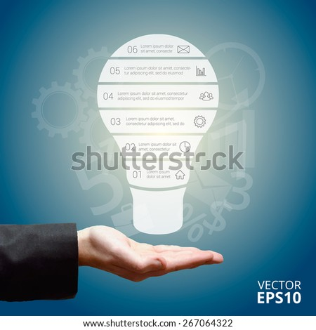 Light bulb infographic in hand businessman. Template for diagram, graph, presentation. Business concept with 6 options, parts, steps or processes. Linear graphic