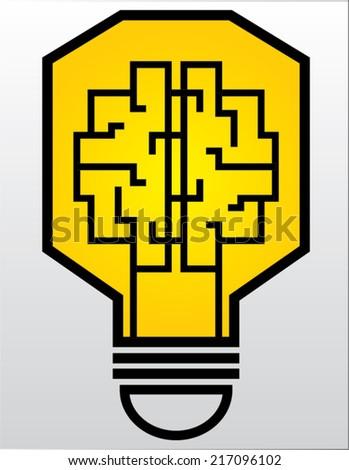 light bulb labyrinth  isolated illustration - stock vector