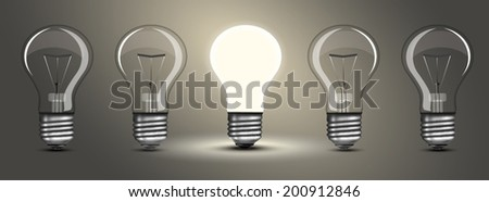 Light bulb lamps on a colour background - stock vector