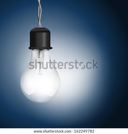 light bulb lighting on blue background  - stock vector