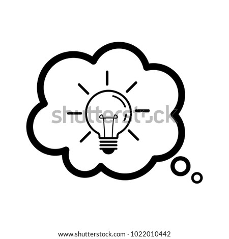 Light bulb line in a speech bubble. Isolated on white background. Idea sign  sc 1 st  Shutterstock & Light Bulb Line Speech Bubble Isolated Stock Vector HD (Royalty Free ...
