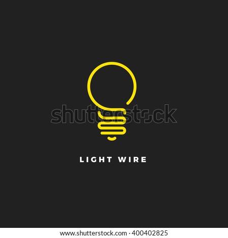 light bulb line vector logo template stock vector