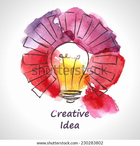 Light bulb made of watercolor, lightbulb and creative icons, watercolor creative concept. Vector concept - creativity and idea. Lettering. quote. Creative light bulb, Big idea, Creative Research  - stock vector