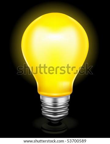 Light bulb on black - stock vector