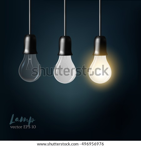 Light bulb on blue background. concept. The light from the lamps. Realistic style. vector. Background for infographics, presentations. Business ideas.