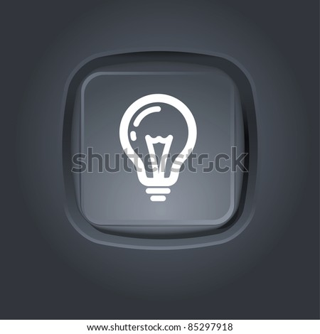 light bulb pictogram on button - stock vector