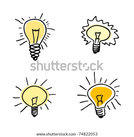 Light bulb set, vector illustration - stock vector