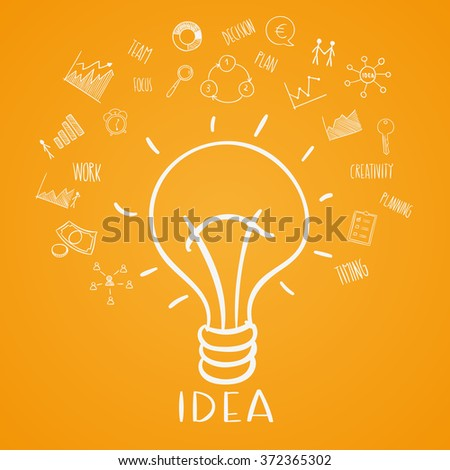 Light bulb sketch with concept of idea. Doodle hand drawn sign. vector Illustration - stock vector