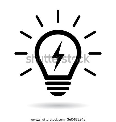 Light bulb symbol on white background - stock vector