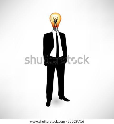 Light bulb. The businessman concept of idea. Head-lamp - stock vector