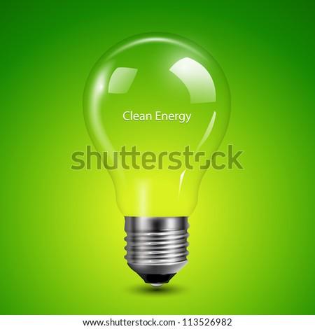 Light bulb transparent on green background, vector illustration. - stock vector