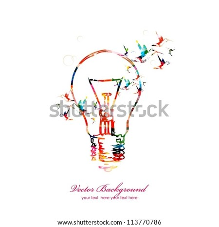 Light bulb vector background with hummingbirds - stock vector