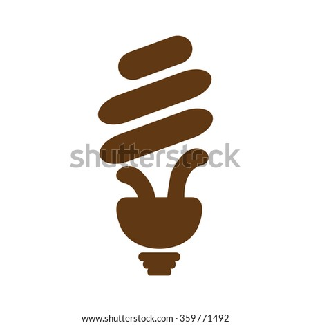 Light bulb vector. eco bulb. brown icon. - stock vector