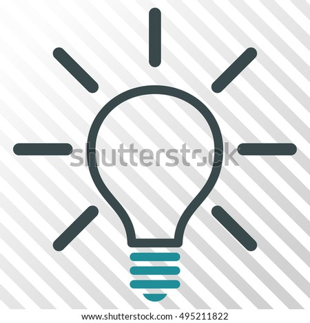 Light Bulb vector icon. Image style is a flat soft blue pictograph symbol on a hatch diagonal transparent background.